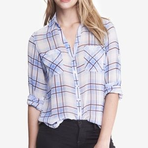 Express Portofino Sheer Convertible Sleeve Shirt M